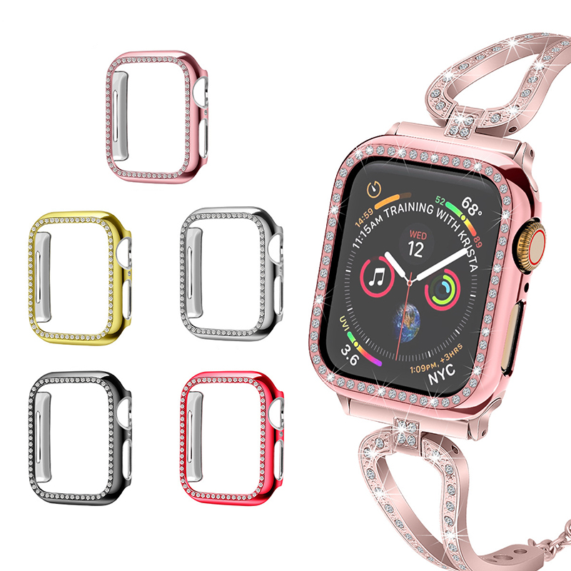 Diamond Case for Apple Watch  6 5 4 Series 44mm 40mm Screen Protective Cover PC Watch Case