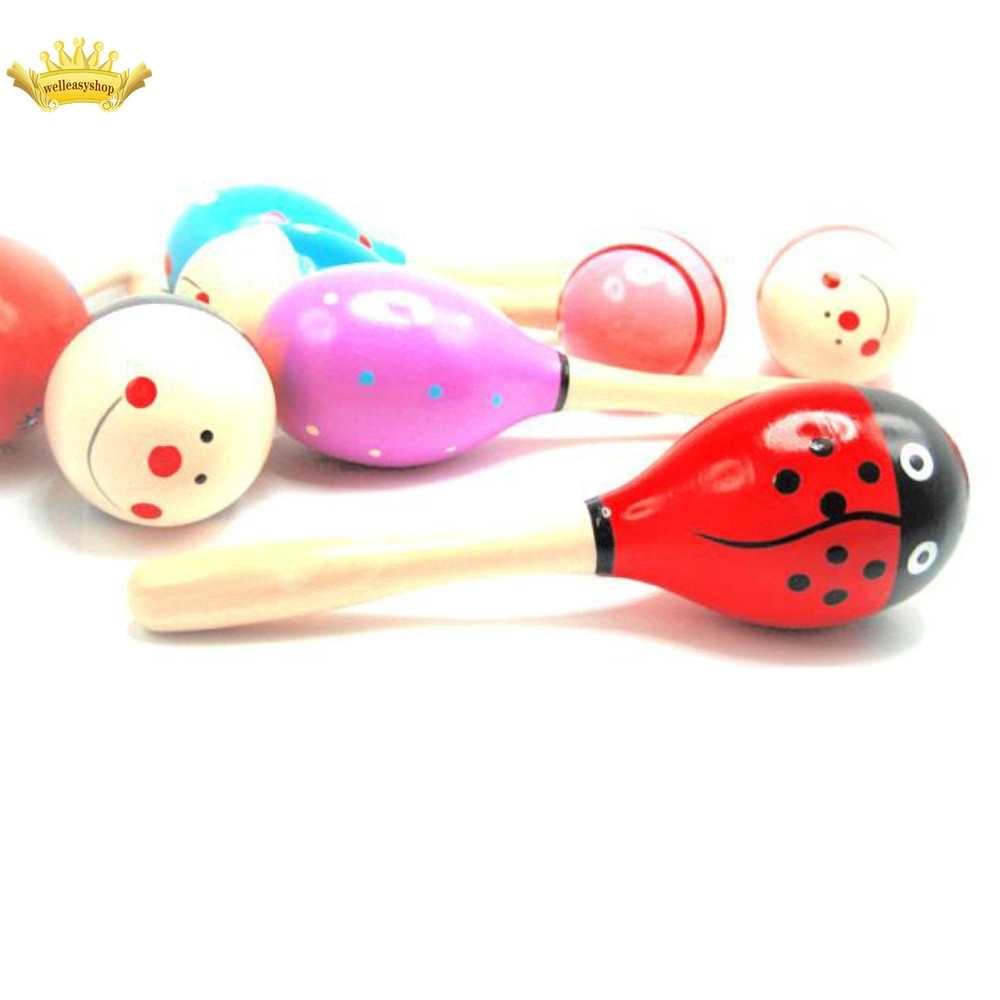 1pcs Kid Baby Wood Maraca Rattle Shaker Percussion Musical Instrument Toy