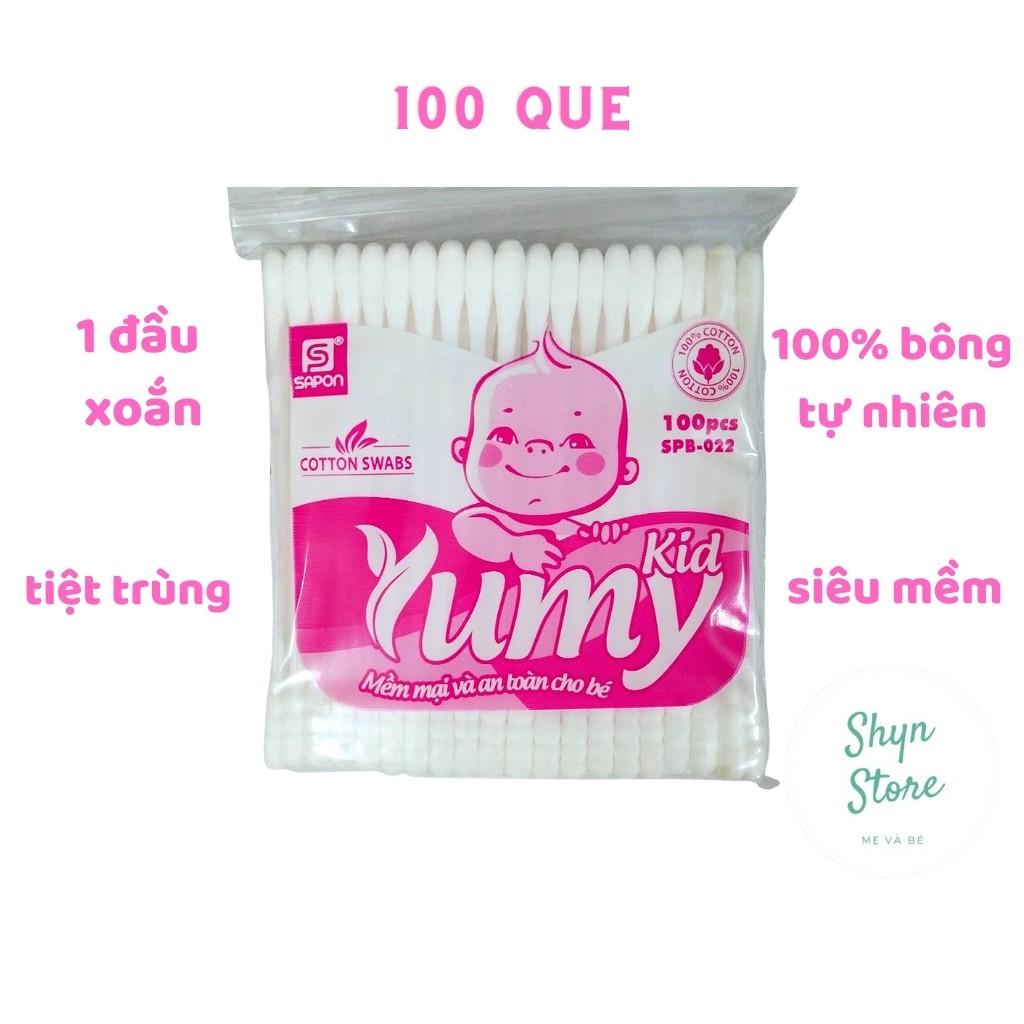 Tăm bông trẻ em YUMY KIDS 100 que 1 đầu xoắn - Bông tự nhiên 100% mềm mại, an toàn