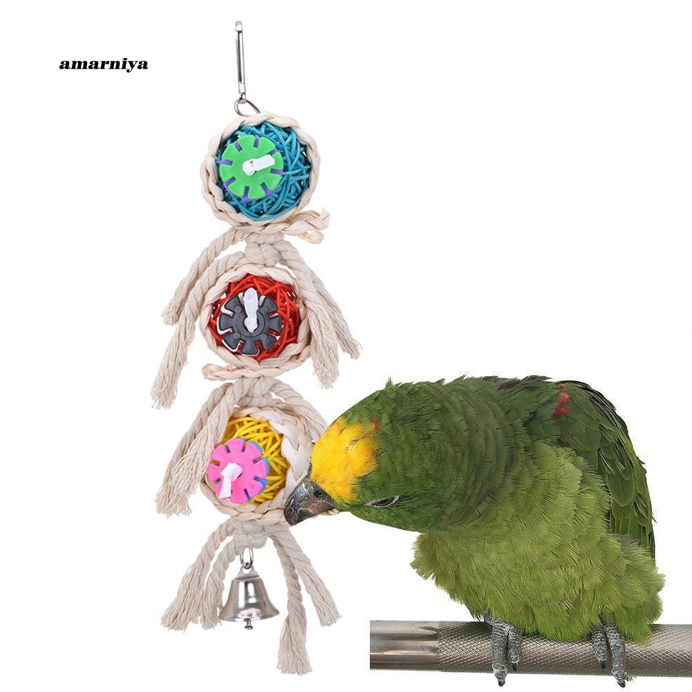 AMA♥Rattan Ball Rope Bird Parrot Budgie Parakeet Cockatiel Bite Climb Toy Cage Decor