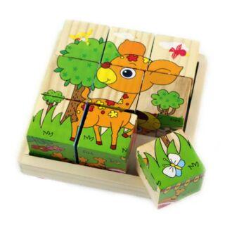Đồ chơi tranh ghép hình gỗ 6 mặt (6 mặt 6 hình khác nhau) – xếp hình 3D cho bé