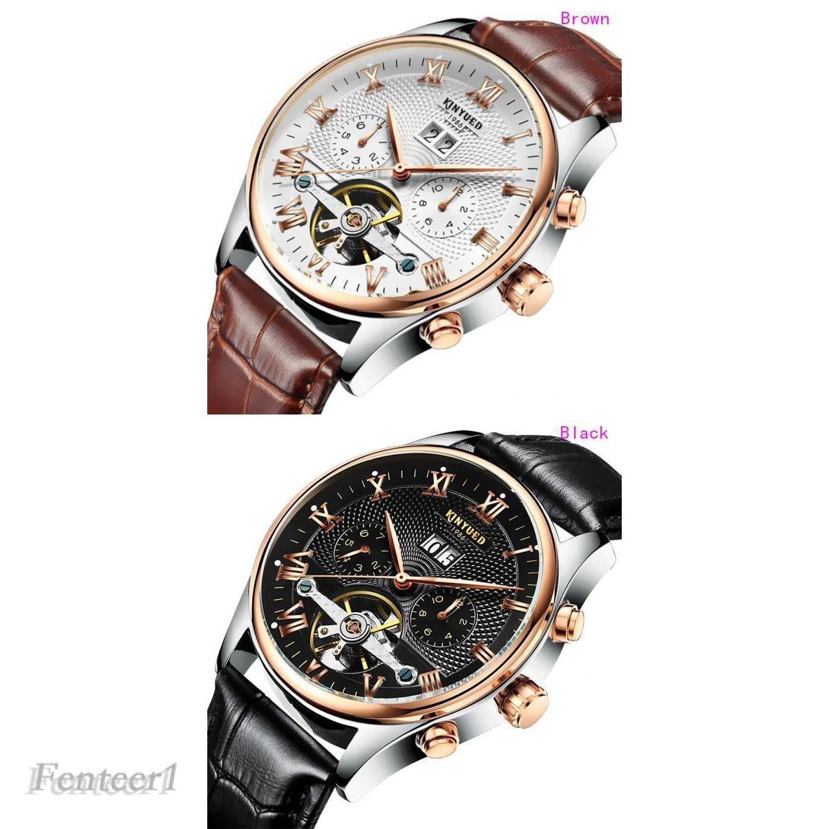 [FENTEER1] Chic Mechanical Automatic Men Wrist Watch Kinyued Skeleton Classic Leather Steel