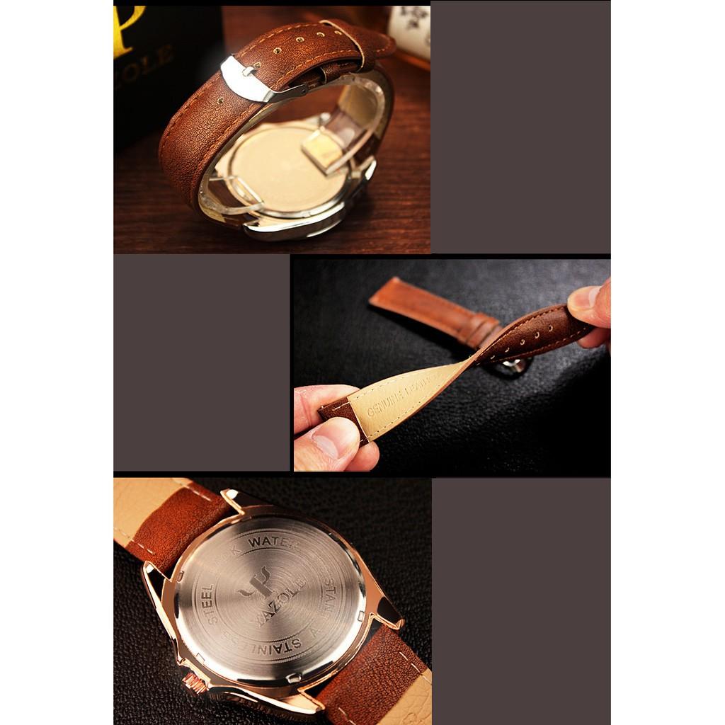 Đồng hồ nam Yazole 336 dây da thời trang cực chất (Vỏ bạc)