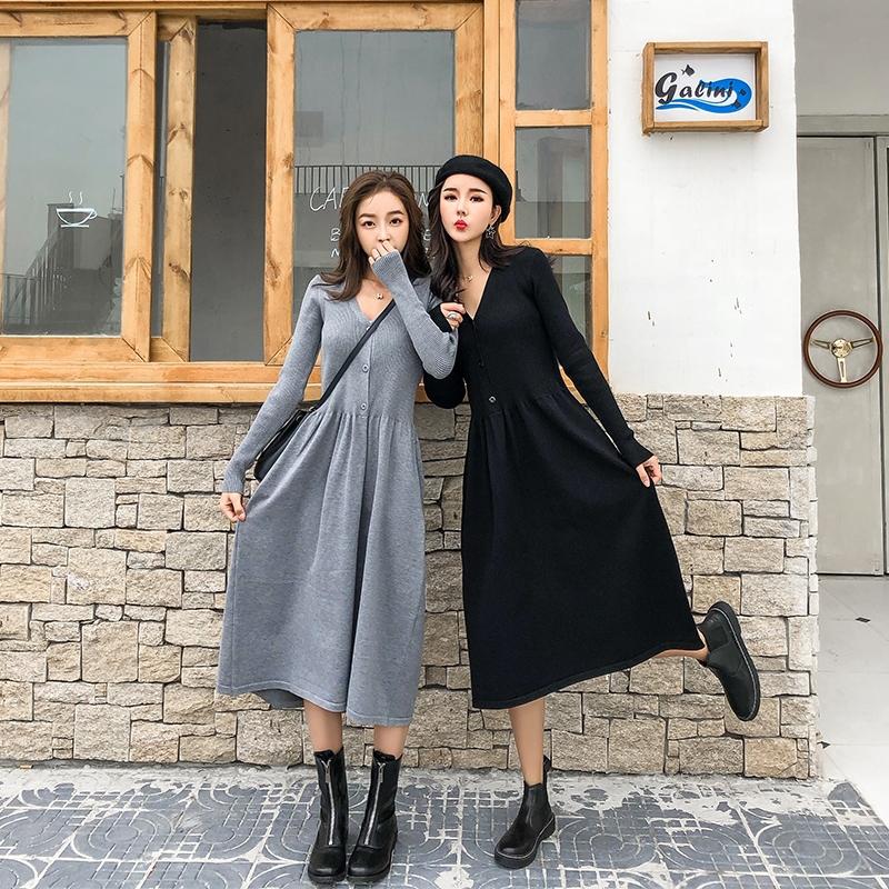3903578262 - đầm ôm dài tay cổ tròn thời trang nữ