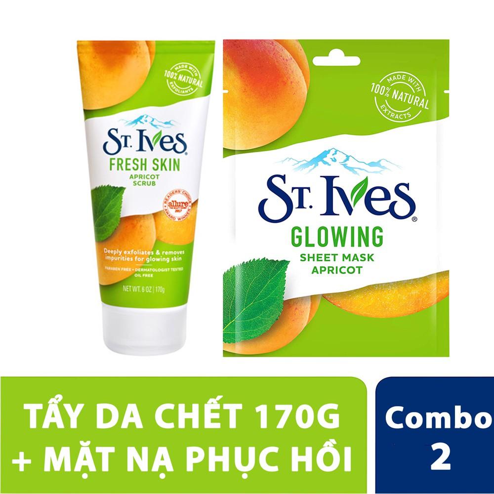 Combo Tẩy da chết St.Ives hương mơ 170g + mặt nạ phục hồi tươi tắn St.Ives glowing mask 1 miếng