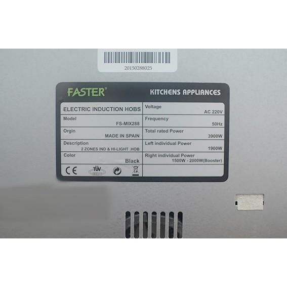 Bếp điện từ Faster FS MIX288 nhập khẩu Tây Ban Nha, bếp điện từ đôi, bếp từ hồng ngoại, bếp hỗn hợp điện từ