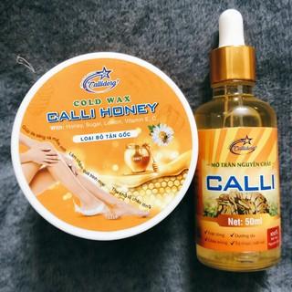 Combo Triệt Lông Sáp Wax Mỡ Trăn Calli Honey was tẩy triệt lông nách bikini tặng 50 giấy 2 que wax – CWL