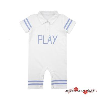 ✿Sc♚Baby Boys Girls Play Print Jumpsuit Collar Short Sleeve Cotton Rompers Newborn Homewear Clothing