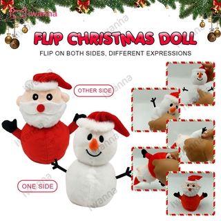 'NEW' Santa Claus Doll Double-sided Flip Father Christmas Snowman Plush Doll Xmas Christmas Decor Kid Toy Gift iWN