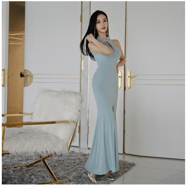 Sexy Women Halter Sleeveless Long Prom Gowns Wrap Split Evening Party Maxi Dress