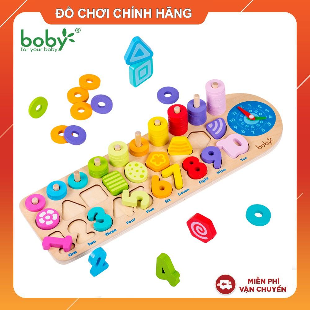 Đồ chơi gỗ cho bé Bàn tính hình khối, số học, tập đếm, đồng hồ