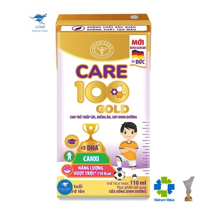 Thùng sữa nước Nutricare Care 100 Gold - cho trẻ thấp còi biếng ăn suy dinh dưỡng (110ml x 48