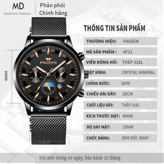Đồng hồ nam FNGEEN chính hãng, dây thép nhuyễn lịch lãm sang trọng, siêu giảm giá, lên tay cực đẹp ( Mã: AF21 )