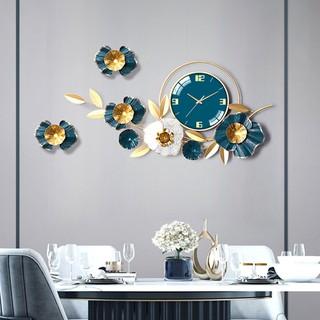 Đồng Hồ Treo Tường Trang Trí Decor hoa mai vàng DK121 quartz nội thất phòng khách cỡ lớn hiện đại cao cấp
