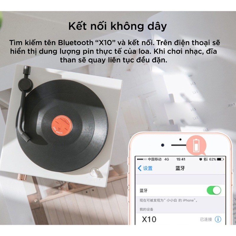 Loa Bluetooth phong cách Retro X10 ❌FREESHIP❌ Giả Lập Đĩa Than