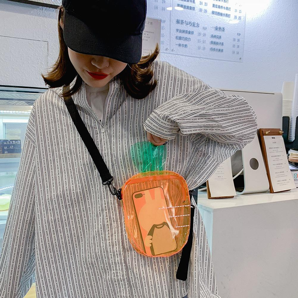 COD-Yoblely Carrot Clear Transparent PVC Shoulder Bags Women Jelly Messenger Handbags