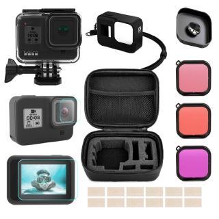 Túi đựng lens máy quay cầm tay bảo vệ màn hình kính cường lực chống thấm nước màu đen cho Gopro Hero 8