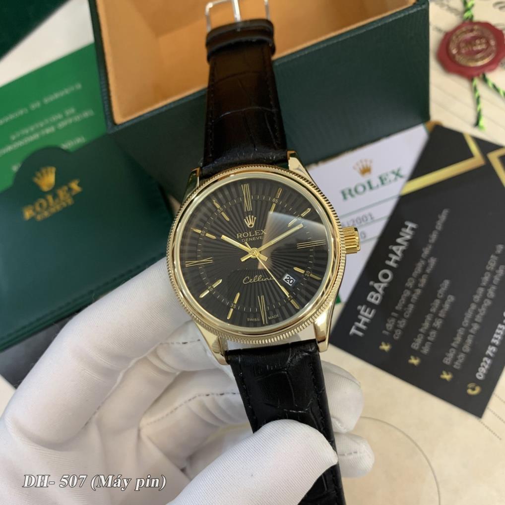 Đồng hồ nam RL máy pin mặt tròn dây da cao cấp có bảo hành DH507 shop105