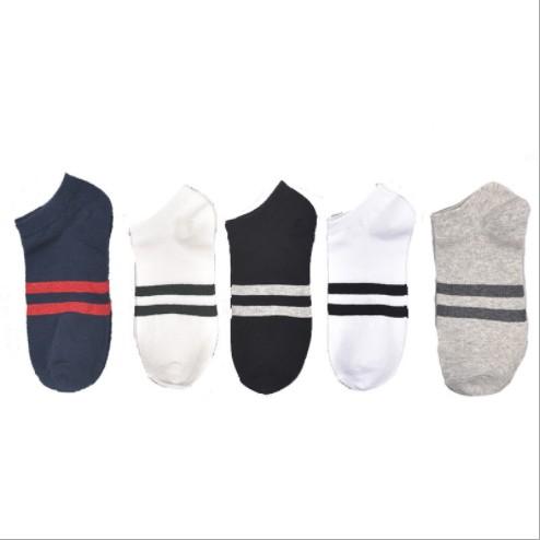 Tất trơn nam nữ cổ ngắn kẻ giữa 9-HOPE phong cách vintage Hàn Quốc nhiều màu - Vớ trơn cổ ngắn TAT4