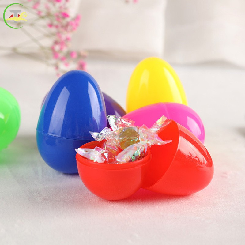 TG 12pcs Colorful Easter Eggs Children's Handmade Diy Plastic Egg Shell @vn