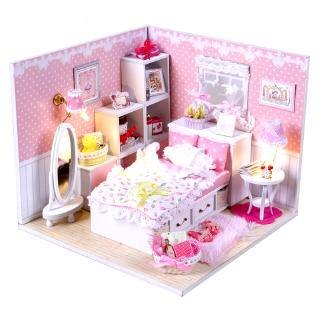 đồ chơi bằng gỗ DIY bộ lắp ráp dễ thương ,độ bền cao _đồ chơi trẻ em ngôi nhà giường ngủ tặng kèm kiếng chống bụi