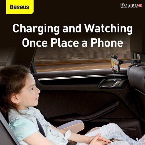 Giá đỡ điện thoại gắn lưng ghế trên xe hơi tích hợp sạc không dây 15W Baseus Energy Storage Backseat Holder Wireless