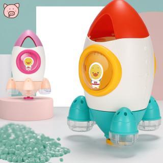 Cartoon Rocket Shape Rotating Sprinkler Water Spray Toy for Kids Summer Bath