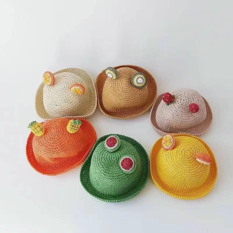 Mũ cói hình hoa quả cho bé siêu xinh cho bé trai và gái từ 1-5 tuổi( mũ cói sắc màu cho bé)