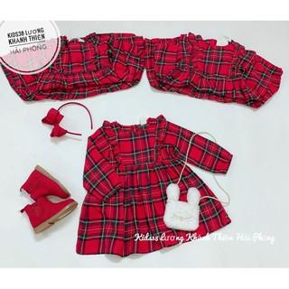 Váy cánh tiên dài tay caro đỏ HM H&M _hàng chính hãng Anh