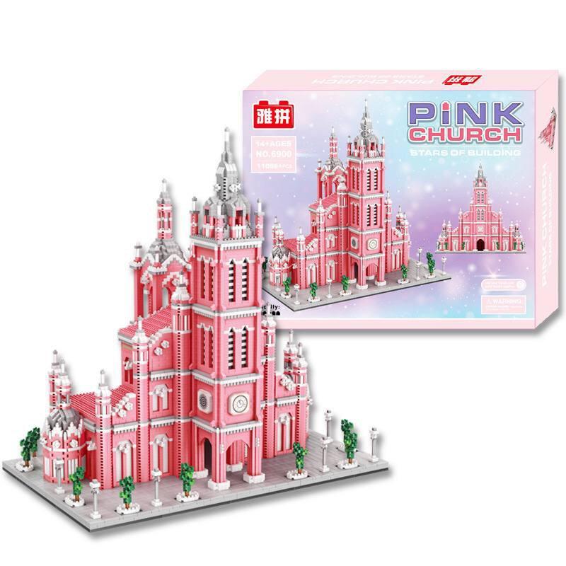 (ORDER) Đồ chơi lắp ráp xếp hình Lego nhà thờ Tân Định màu hồng 11086 miếng ghép