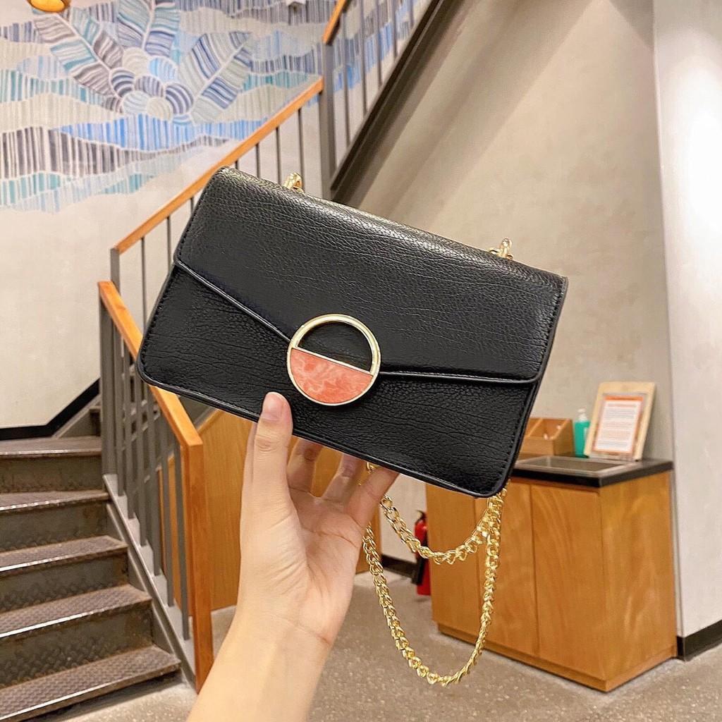 Túi Ngọc trinh khóa tròn đá mờ túi xách nữ sang trọng hàng đẹp TXCKDA (không kèm gấu)
