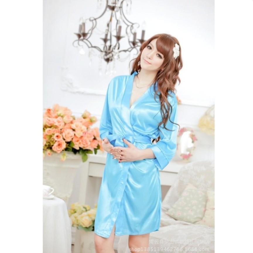 Váy ngủ nữ tay lửng kiêm áo choàng Blue CDAN26