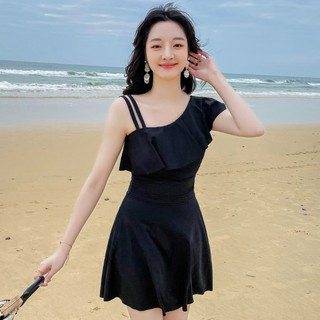 2021 hot spring bathing suit women's one-piece boxer conservative slim looking belly covering boxer Korean style sexy st