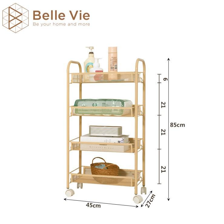 Kệ Sắt Đa Năng 4 Tầng BELLIVE Kệ Đa Năng Sơn Tĩnh Điện Có Bánh Xe Tiện Lợi Iron Shelf 4F