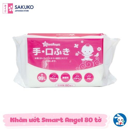 Khăn ướt NISHIMATSUYA Smart Angel - Màu hồng 80 tờ
