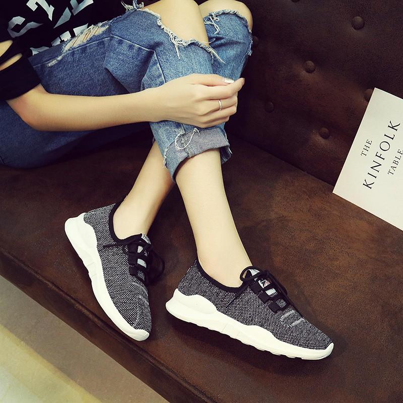Giày sneakers nữ màu ghi cá tính MS6