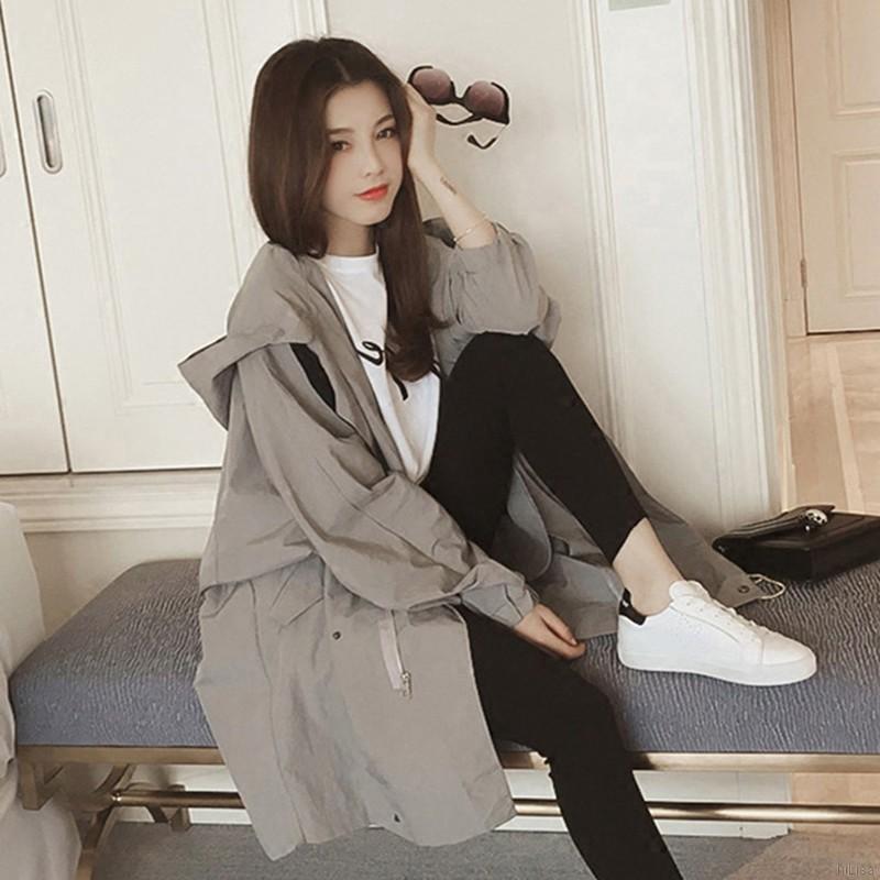 Áo khoác hoodie tay dài màu trơn cho nữ