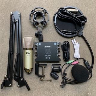 [Mã ELMSBC giảm 8% đơn 300K] Chọn Bộ Thu Âm Livestream ISK AT350-Sound Card xox k10 chân kẹp màn lọc bh 6 tháng