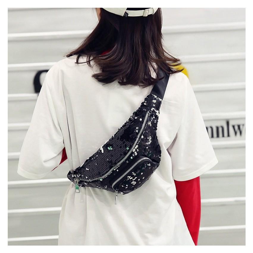 Túi bao tử,túi đeo ngực đính kim sa cực hot cho bạn nữ TXN26