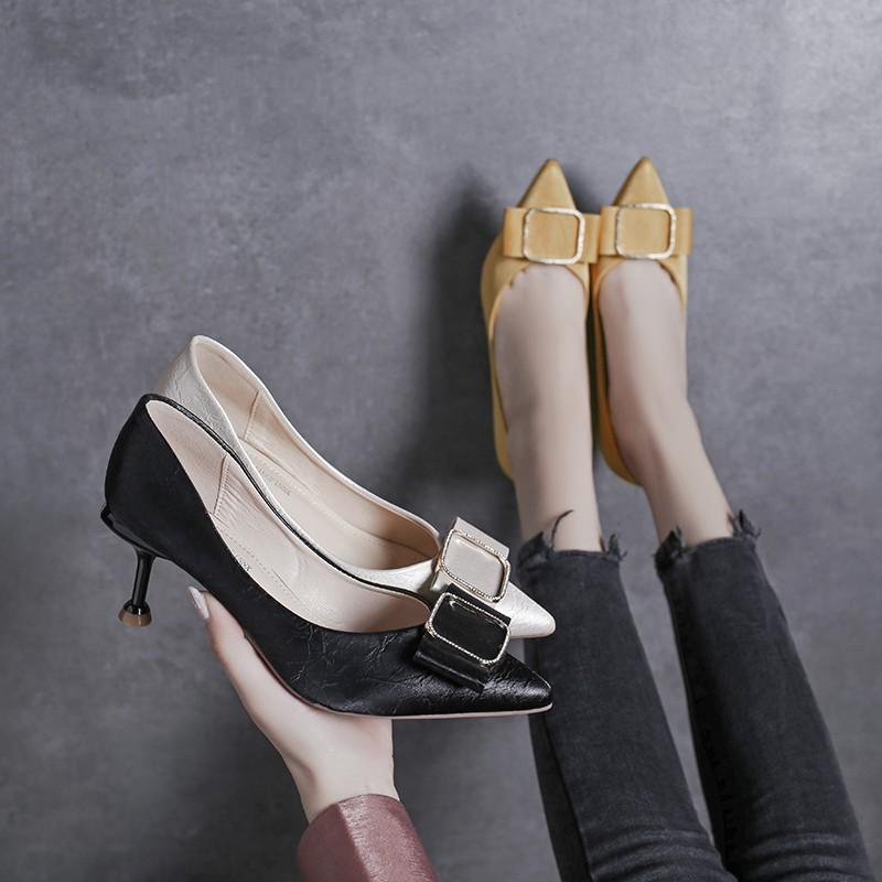 【จัดส่งฟรี】่วงใหม่ป่ากริชเซ็กซี่สาวสุทธิทำงานสีแดงมืออาชีพตื้นปากรองเท้าเดียวหญิง