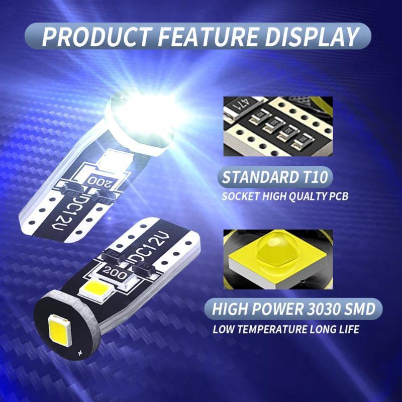 Đèn Led Chân T10 W5W 3SMD LED 194 168 3030 Lắp Đèn Biển Số Ô Tô, Đèn Nội Thất Canbus