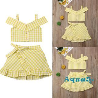 ✿ℛSummer Toddler Baby Plaid Off Shoulder Crop Top+Tutu Skirts