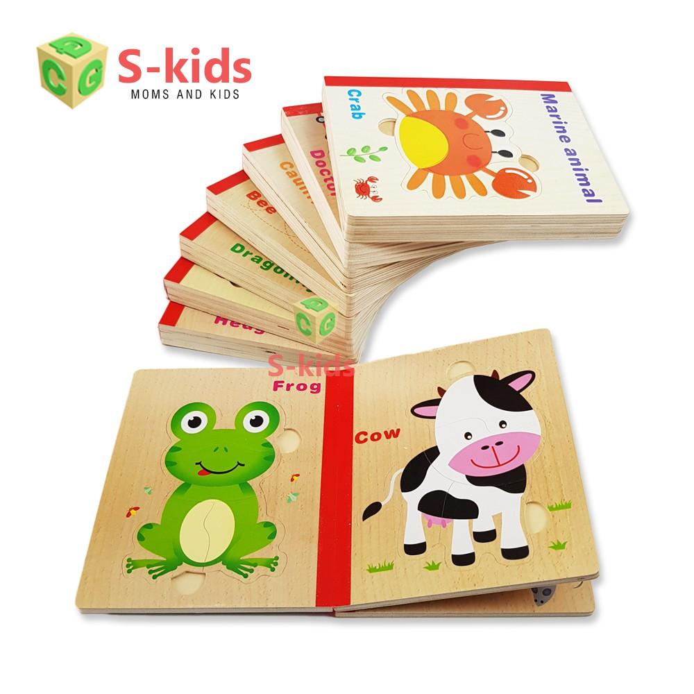 Đồ Chơi Gỗ S-Kids, Sách Gỗ Ghép Hình Thông Minh Cho Bé.