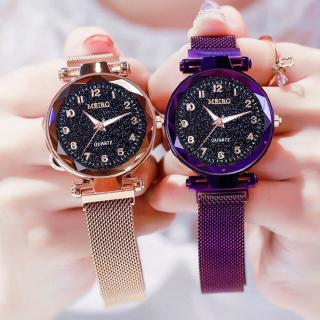Đồng hồ nữ dây thép lưới mặt tròn kiểu dáng sang trọng