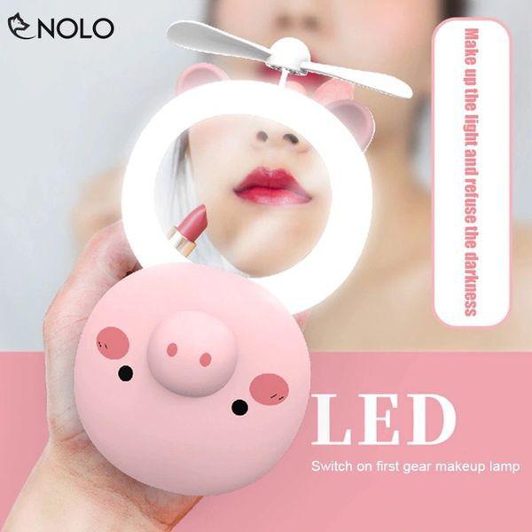 Gương trang điểm mini có Đèn LED Kèm Quạt Mini hình thú Siêu Dễ Thương – Gương trang điểm đèn LED Chuẩn Chất Lượng