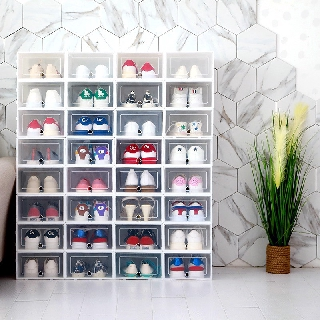 Combo 8 hộp đựng giày lắp ráp nắp nhựa cứng trong suốt size nam dành cho cả nam và nữ có thể lắp thành tủ