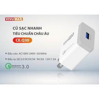 Củ sạc nhanh cao cấp VivuMax CE.Q30 sạc nhanh công nghệ Qualcomm chuẩn QC3.0 tiêu chuẩn Châu Âu thumbnail
