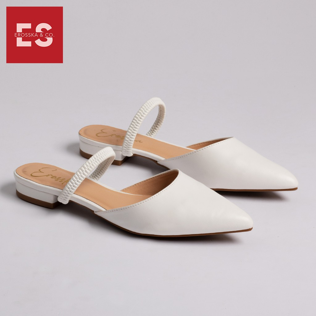 Giày đế bệt Erosska thời trang mũi nhọn hở gót phối dây quai mảnh tinh tế cao 2cm màu trắng _ EL002