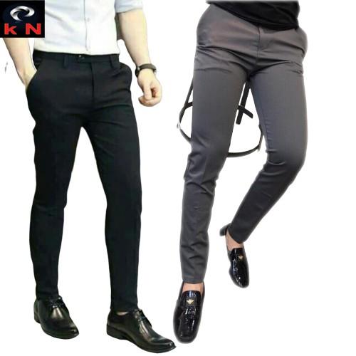 quần tây âu nam 2 màu đen, ghi đậm (tặng kèm khẩu trang su 3D)công sở cao cấp vải mịn co giãn phong cách