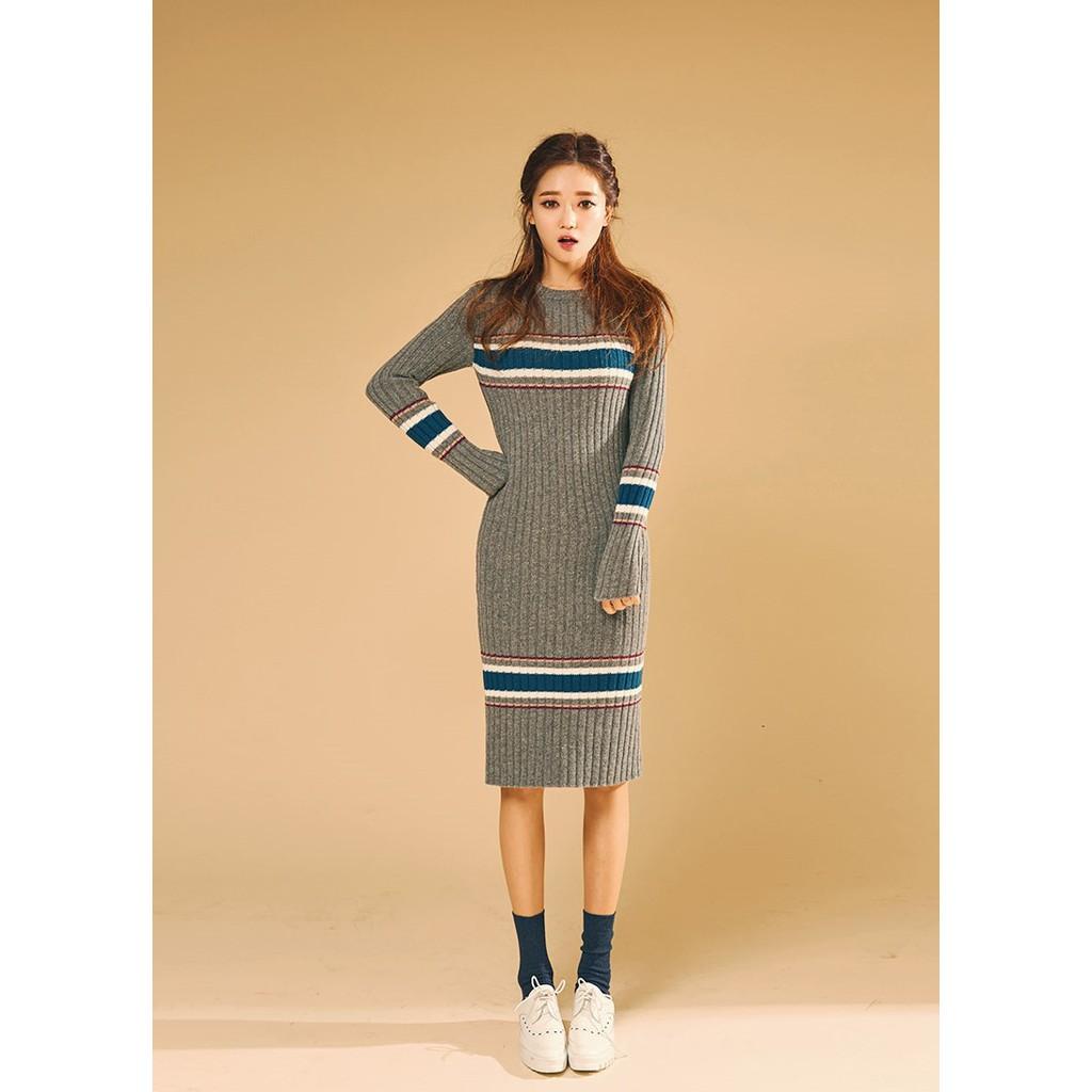 [CHUU] Đầm len tay dài Ribbed Long Knit